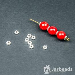 Разделители для бусин Диск 7 шариков 4мм (серебро хром) 10шт
